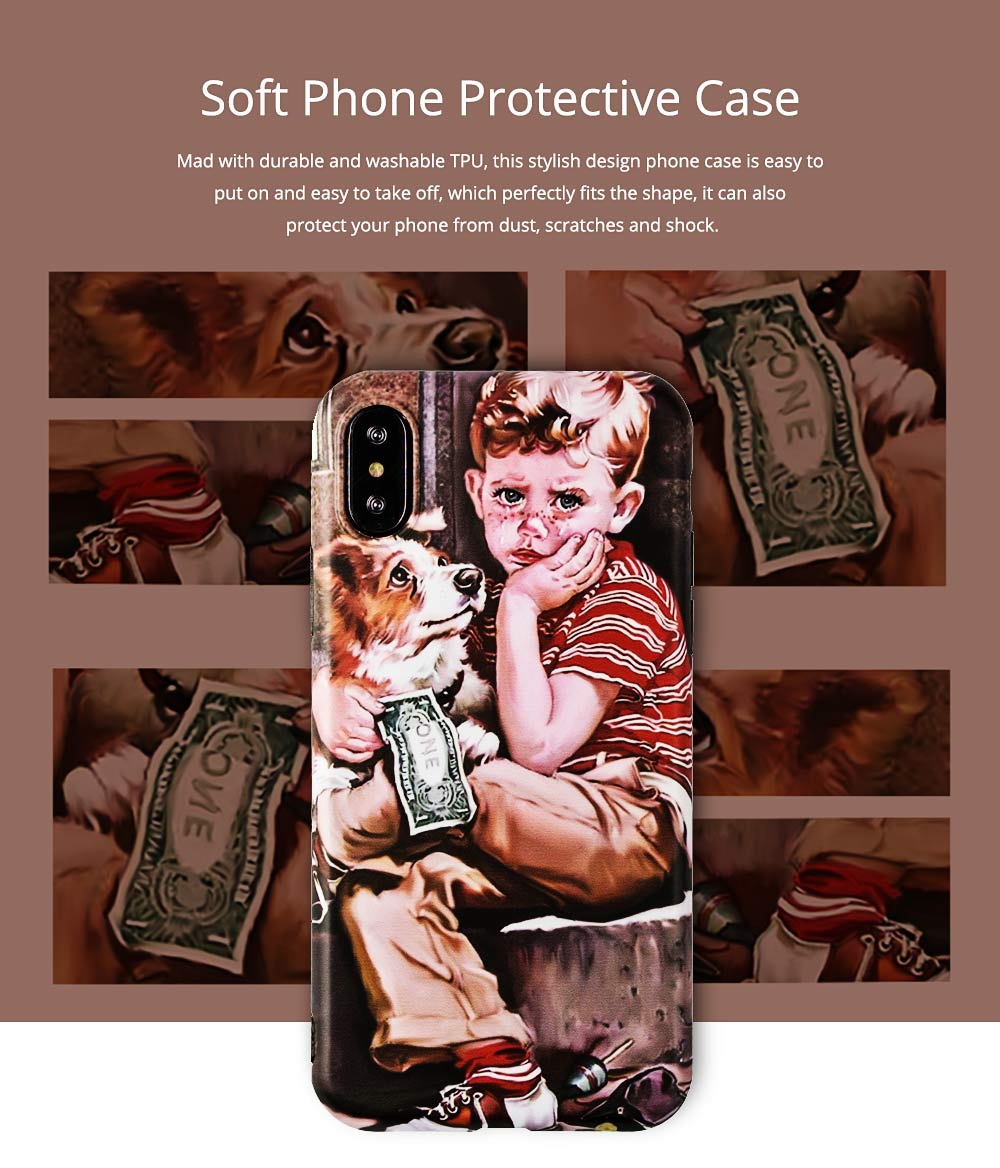 Artwork Phone Case, Soft TPU Phone Back Case, Anti-Scratch Anti-Finger Protective Cover for iPhone 6 6s, iPhone 6plus 6s plus, iPhone 7 8, iPhone X XS, iPhone XS Max, iPhone XR 0