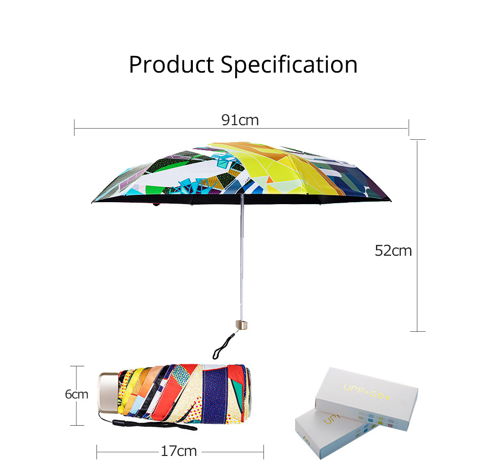 Collapsible Mini Flat Umbrella with High-Tech Layer Pattern Stylish Sun Rain Umbrella for Travel, Outdoors 8