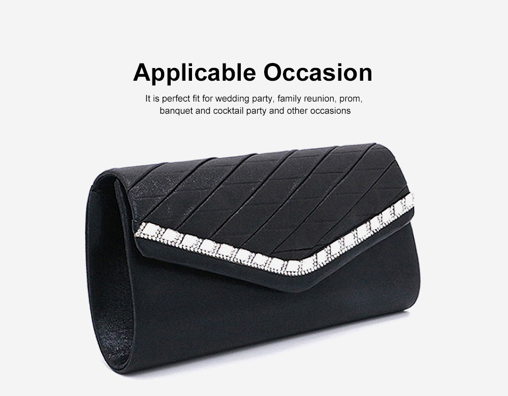 Delicate Ladies Clutch with Sparkling Diamond, Elegant Long Purse for Wedding Evening Party Handbag with Chain Shoulder Cross-body Bag 1
