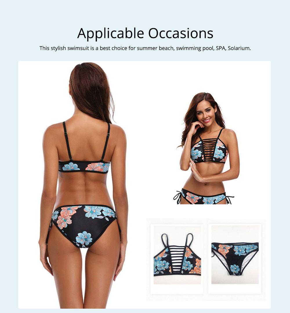 Women Bikini with Retro Halter Neck, Two Piece Swimsuit with Adjustable Bottom Tie Stylish Bikini 4