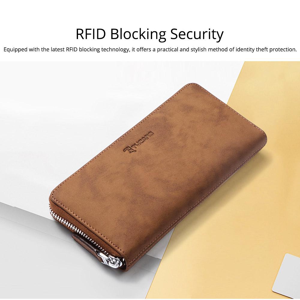 Cowhide Leather Long Wallet with Zipper RFID Blocking, Vintage Bifold Clutch for Men Retro Handbag 4