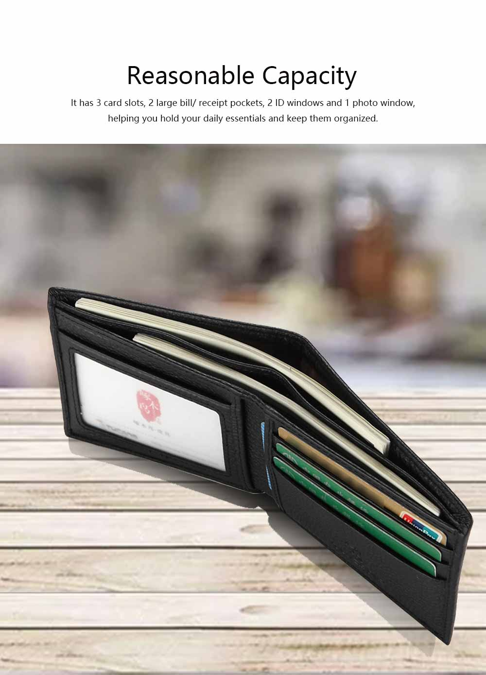 Bifold Side Flip Wallet, High-End Business Men Wallet, Men's Multifunctional Handbag, Extra Capacity Travel Wallet 2