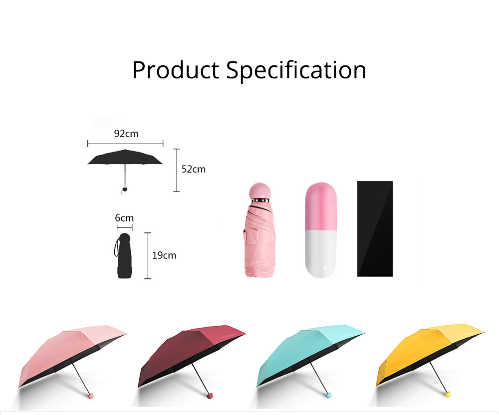 Mini Travel Umbrella for Sunny Day Rainy Day, Anti-UV Sun Umbrella with Cute Capsule Case Ultra Lightweight Umbrella 8