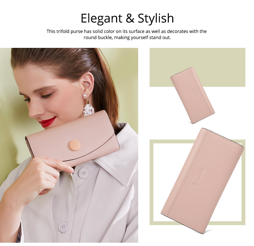 Elegant Purse for Women, Leather Slim Clutch wiith Trifold Design, Ladies Credit Card Holder Organizer Purse 5