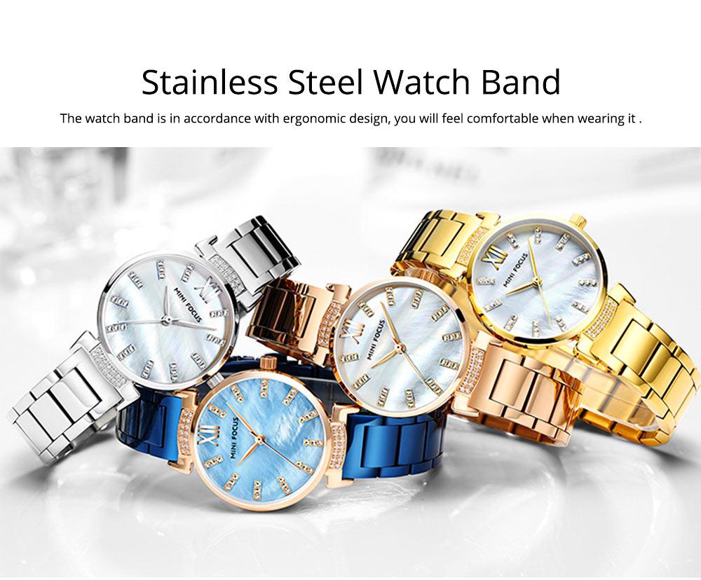 Diamond-mounted Fritillaria Watch for Women, Girls, Stylish Watch with Stainless Steel Watchband Waterproof 30M Wristwatch 5