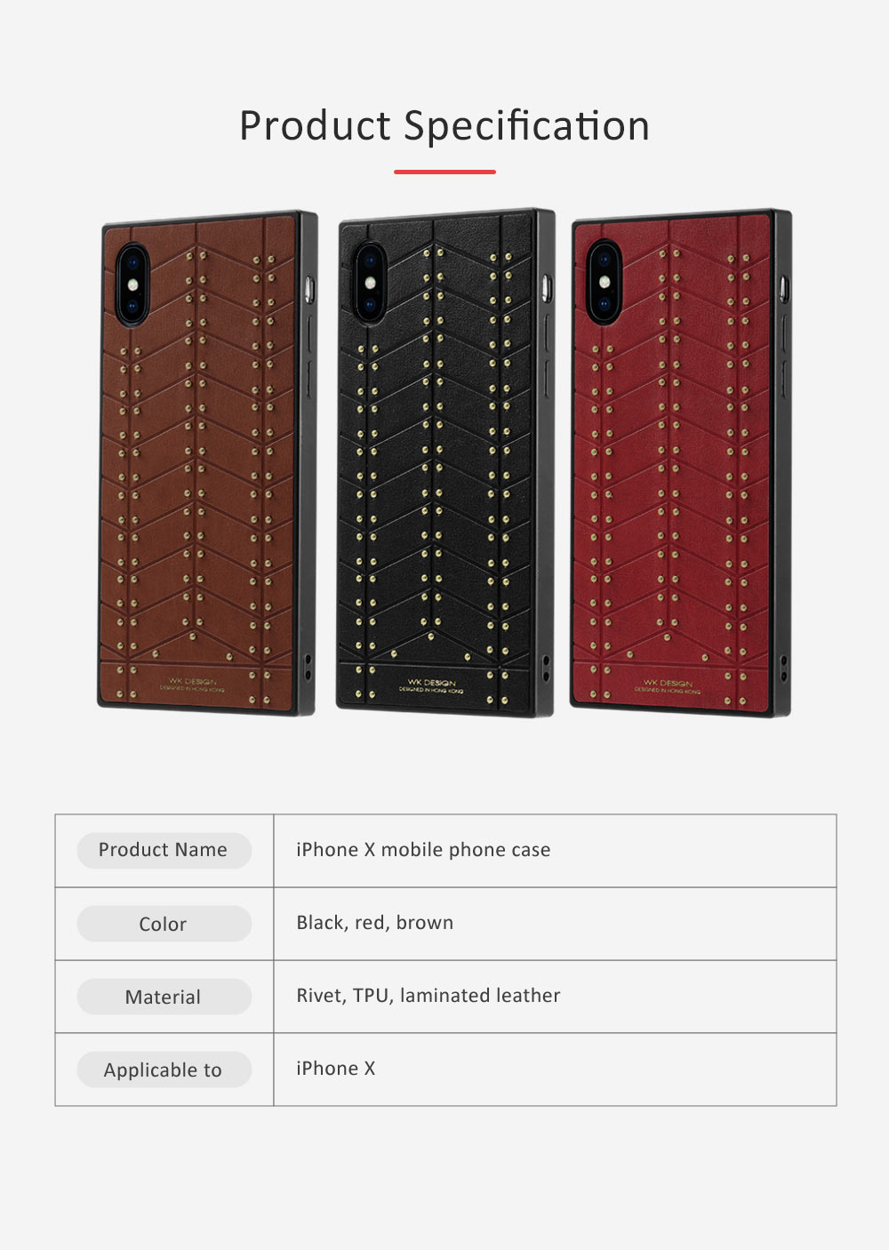 Leather Mobile Phone Case, Revits-decorated Phone Cover for Apple iPhone X Business Men Essential Phone Case 6