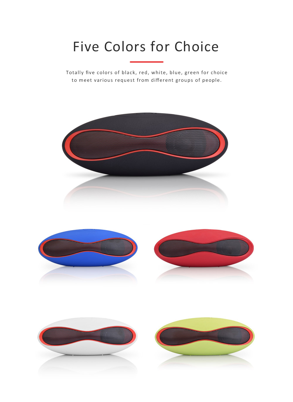 Mini Rugby-shape Bluetooth Speaker, 3D Sound Quality Speakers for Laptop, Tablets, Phones Bluetooth Wireless Speaker 4