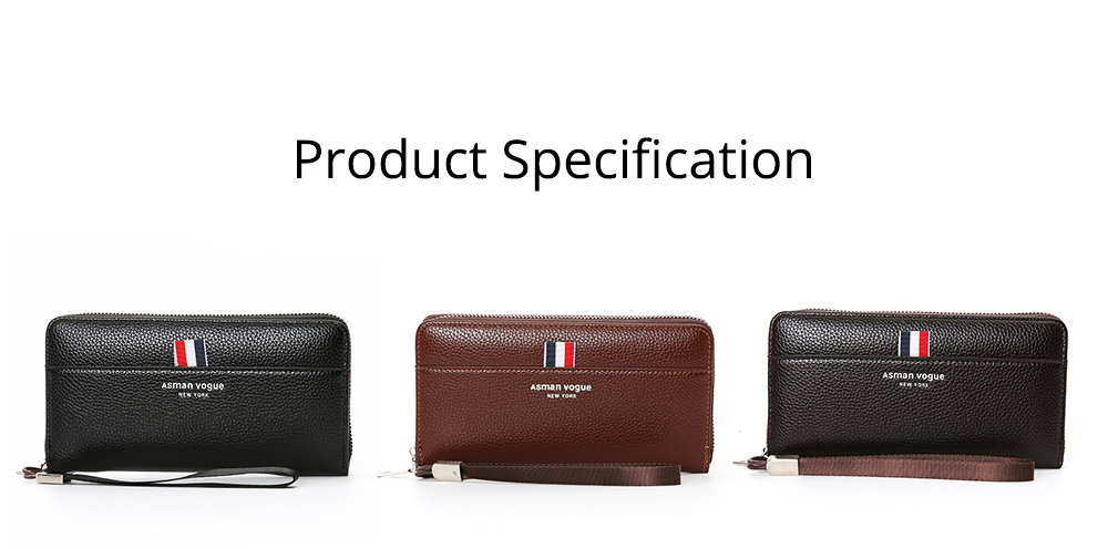 PU Leather Men Wallet, Fashion Litchi Grain Multifunction Long Clutch with Zipper, Multiple Cards Large Capacity Handbag 9