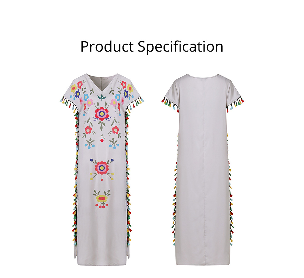 Polyester Women Dress with Retro Print, Tassel V-neck Bohemian Style Dress, Sexy Loose Full Length Dress 2019 Summer  6