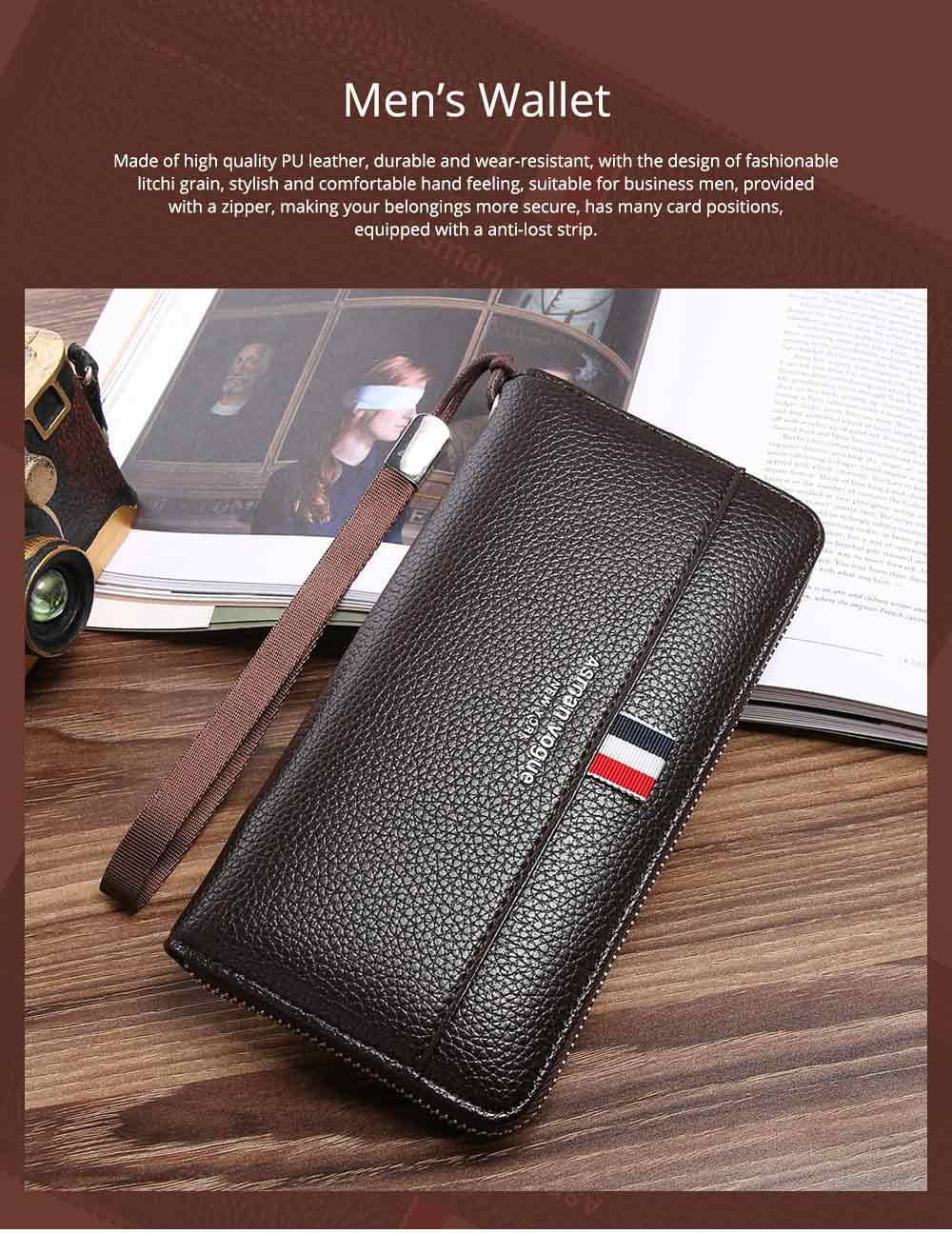 PU Leather Men Wallet, Fashion Litchi Grain Multifunction Long Clutch with Zipper, Multiple Cards Large Capacity Handbag 0