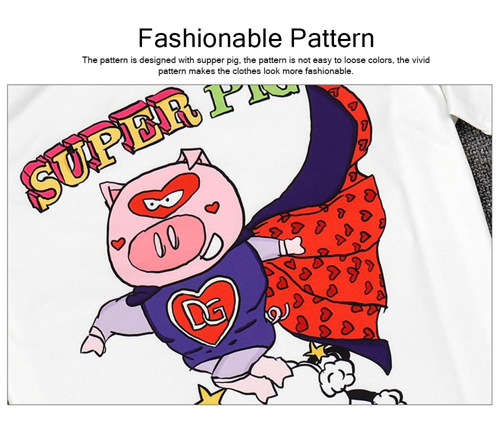 Polyester Spandex Material Male T-shirt with Supper Pig Pattern, Cotta Round Collar Fashionable Short Sleeve Shirt for Men 3