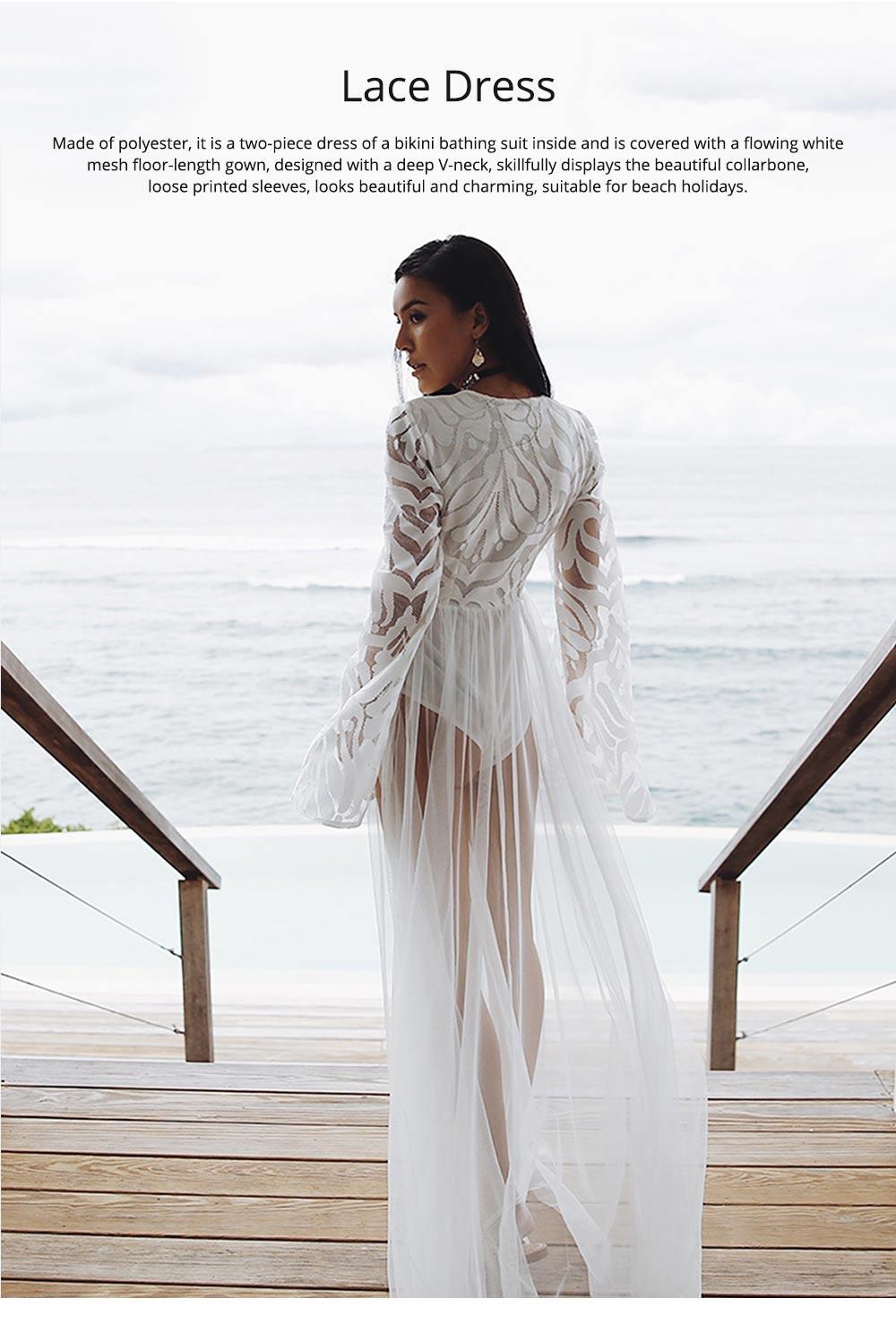 Women Lace Mesh Dress for Beach Holiday, Stylish White Floor-length Fashion Bikini Swimwear Two-piece Dress Skirt 0