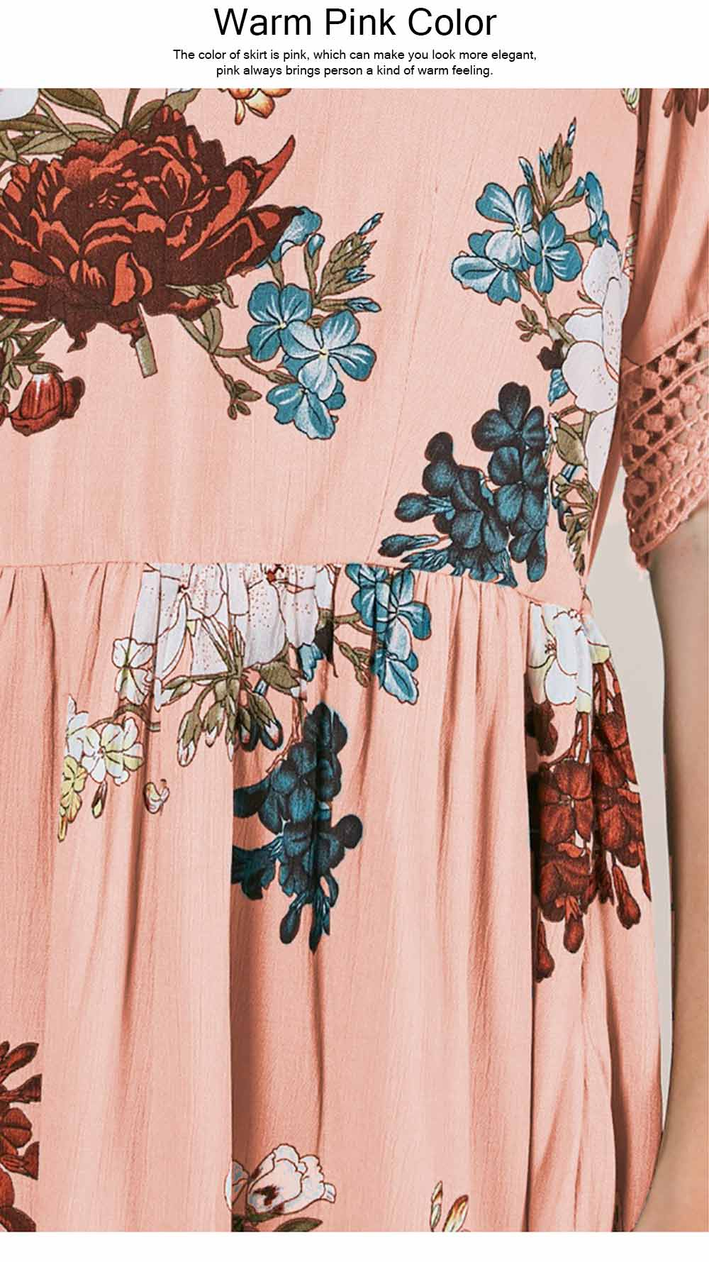V Neck Women Dress, Breathable Short Dress with Lace Tail, Printing Pink Kilt, Women One-piece Dress Summer Pink 2019 3