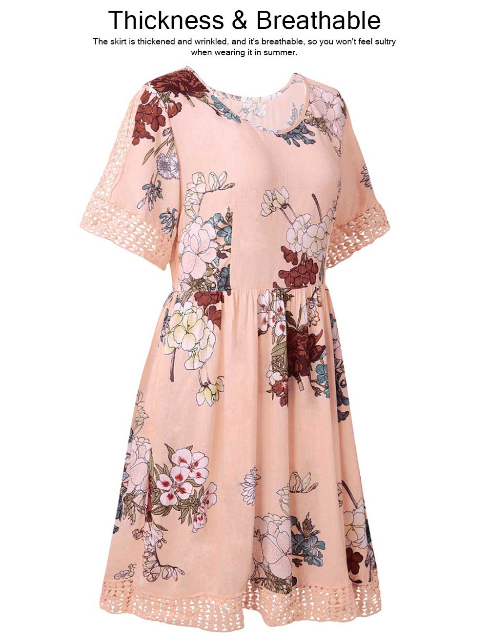V Neck Women Dress, Breathable Short Dress with Lace Tail, Printing Pink Kilt, Women One-piece Dress Summer Pink 2019 5