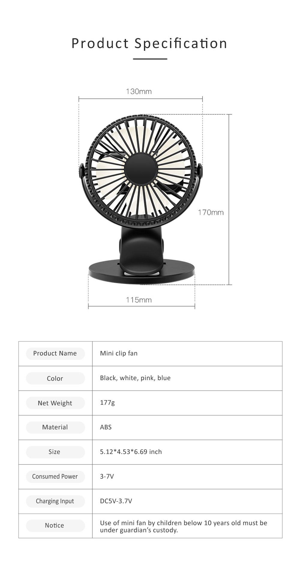 Vehicle-mounted Mini Fan,  Mini Fan USB with Durable Clip Cool Mini Fan for Summer Home, Car, Office 8