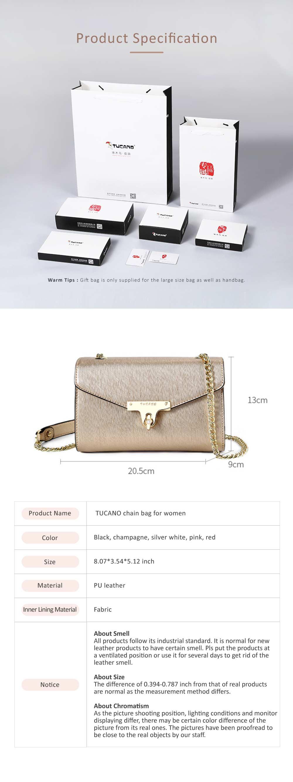 TUCANO Chain Bag for Women, Fashionable Square Messenger Bag for Women Spring Summer, Single-shoulder Bag 9