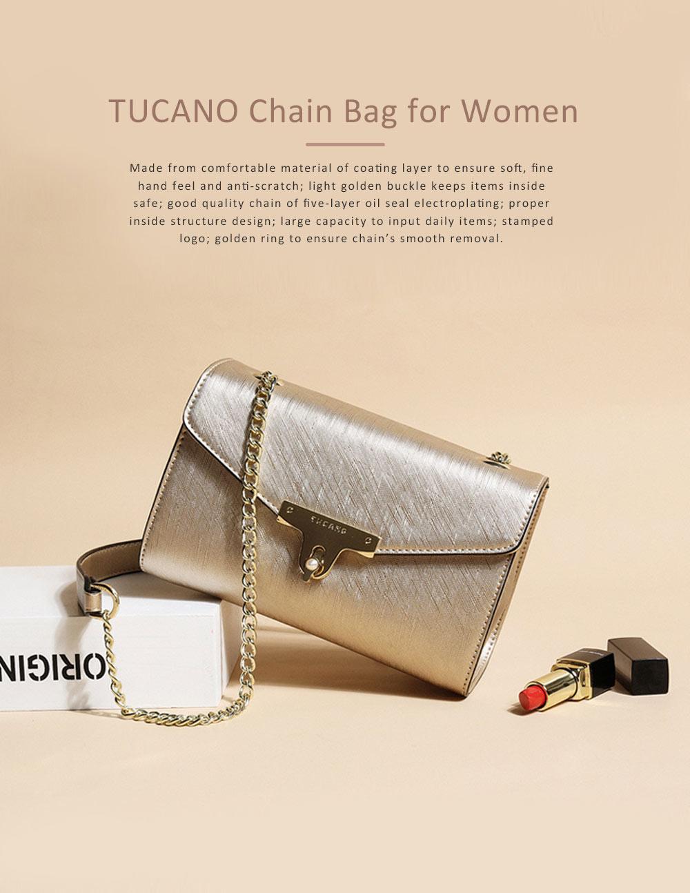 TUCANO Chain Bag for Women, Fashionable Square Messenger Bag for Women Spring Summer, Single-shoulder Bag 0