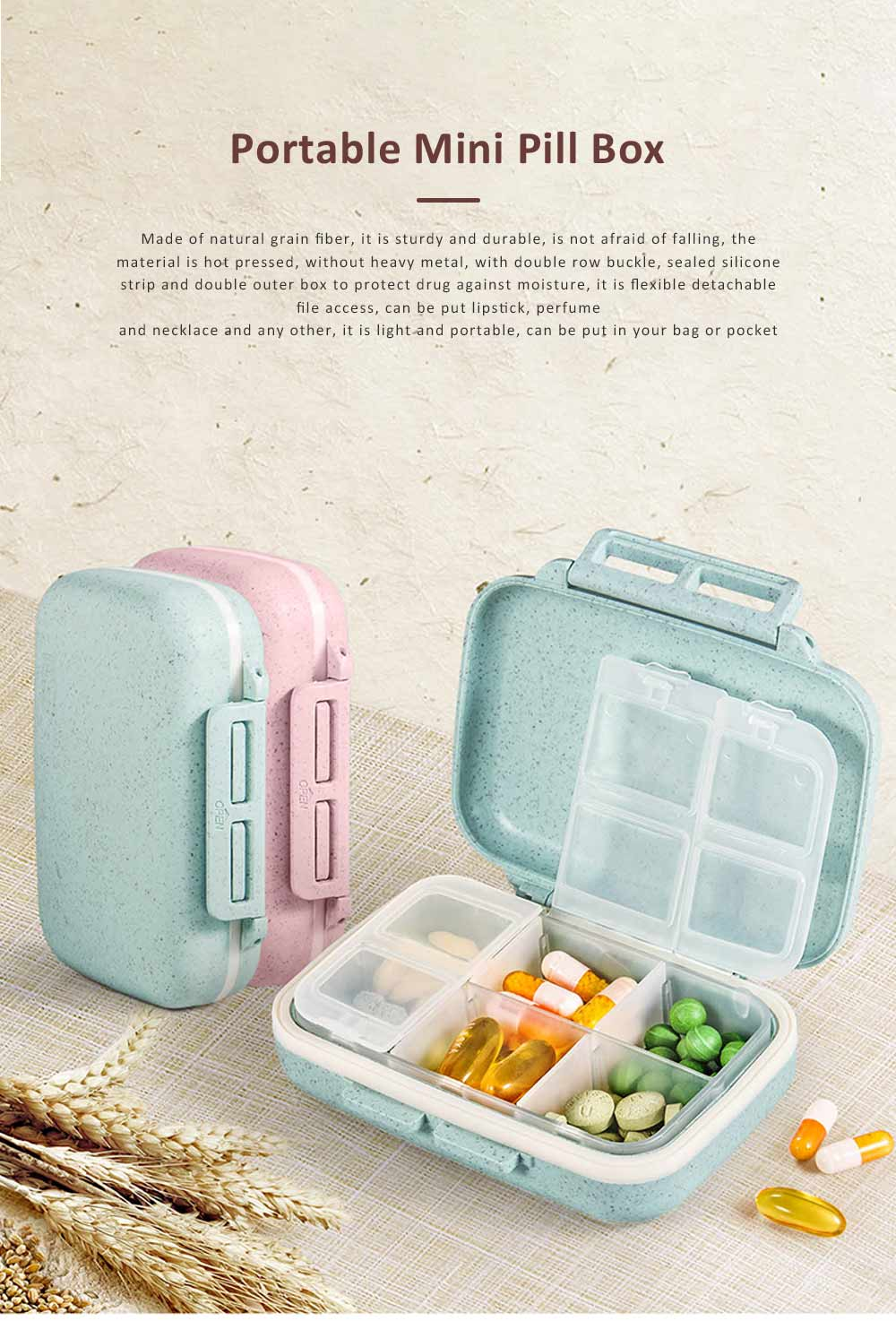 Suitcase Shape Pill Case with Handle Strap, Multiple Compartments Pill Box for Kids, Elderly, Pill Storage Organizer 0