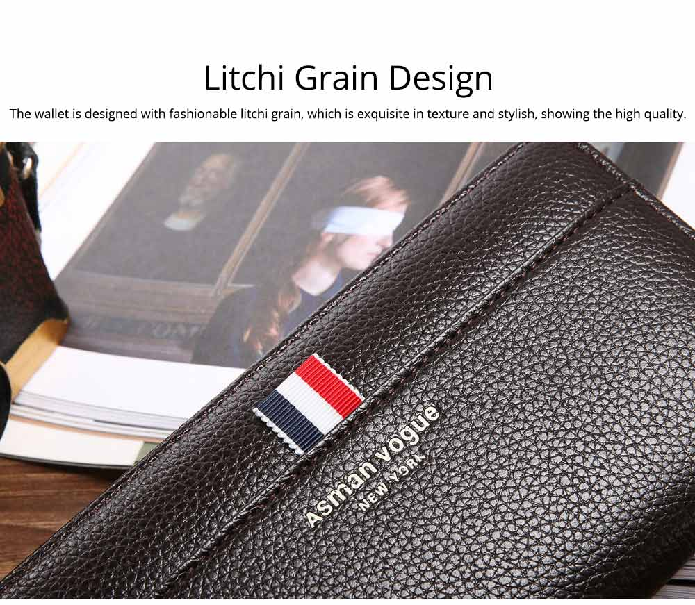 PU Leather Men Wallet, Fashion Litchi Grain Multifunction Long Clutch with Zipper, Multiple Cards Large Capacity Handbag 3