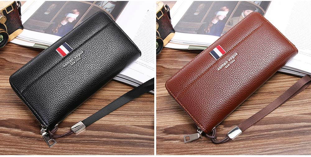 PU Leather Men Wallet, Fashion Litchi Grain Multifunction Long Clutch with Zipper, Multiple Cards Large Capacity Handbag 2
