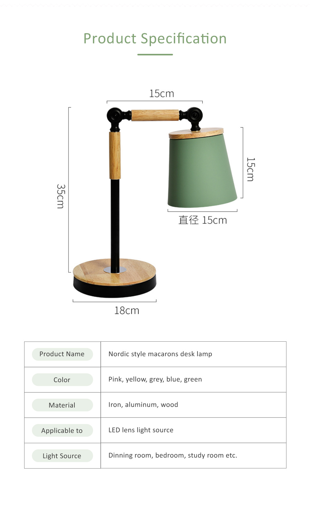 Nordic Style Desk Lamp, Macaron Desk LED Night Light with USB Charging Port, Office Essential Eye Protection LED Light 6