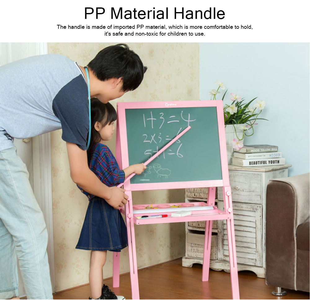 Wood PP Material Drawing Board with Safe Paint, Frosted Board Adjustable Holder Eraser Chalk Whiteboard Marker Palette for Children 8