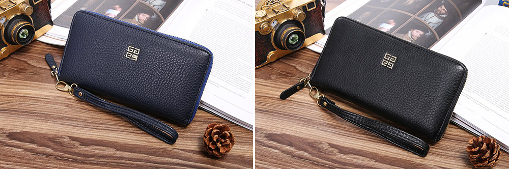 PU Leather Wallet for Men Youth, Soft Leather Casual Simple Europe Style Clutch with Zipper, ID Card Holder, Long Clutch Handbag 2