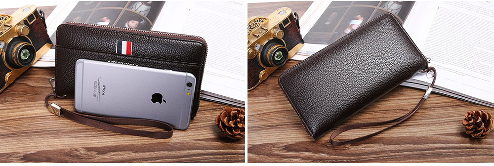 PU Leather Men Wallet, Fashion Litchi Grain Multifunction Long Clutch with Zipper, Multiple Cards Large Capacity Handbag 8