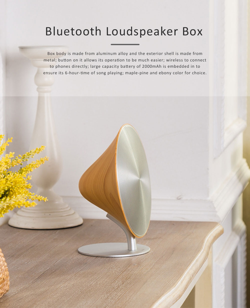 Loudspeaker Box Bluetooth for Desktop Use, Portable Loudspeaker Box Creative Subwoofer Aluminum Subwoofer Package with Amp Desktop Loudspeaker Box 0
