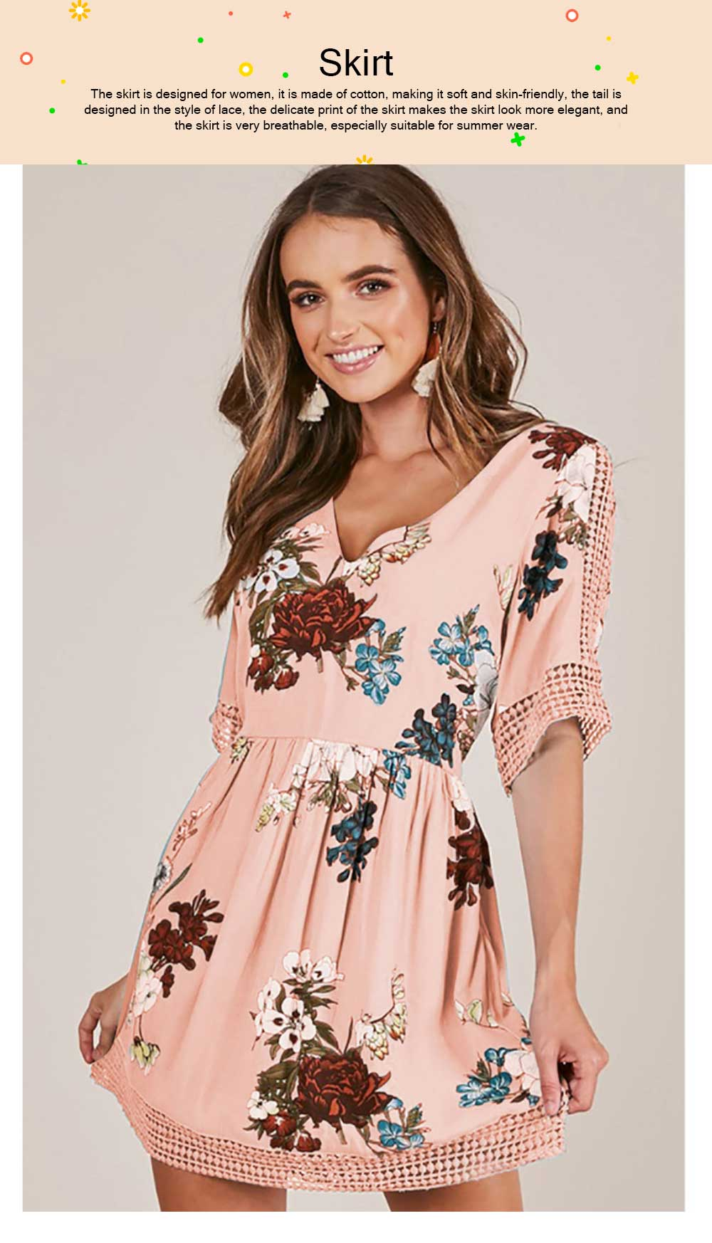 V Neck Women Dress, Breathable Short Dress with Lace Tail, Printing Pink Kilt, Women One-piece Dress Summer Pink 2019 0