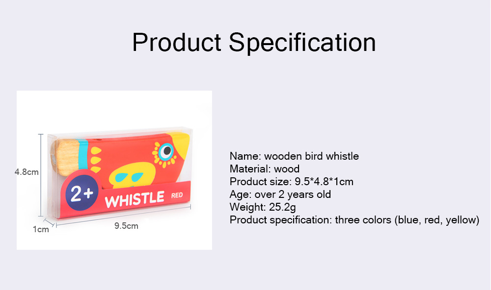 Wood Bird Shape Whistle with Colorful Healthy Paint, Play Toys for Children More than 2 Years, Smooth Corners Educational Toy 6