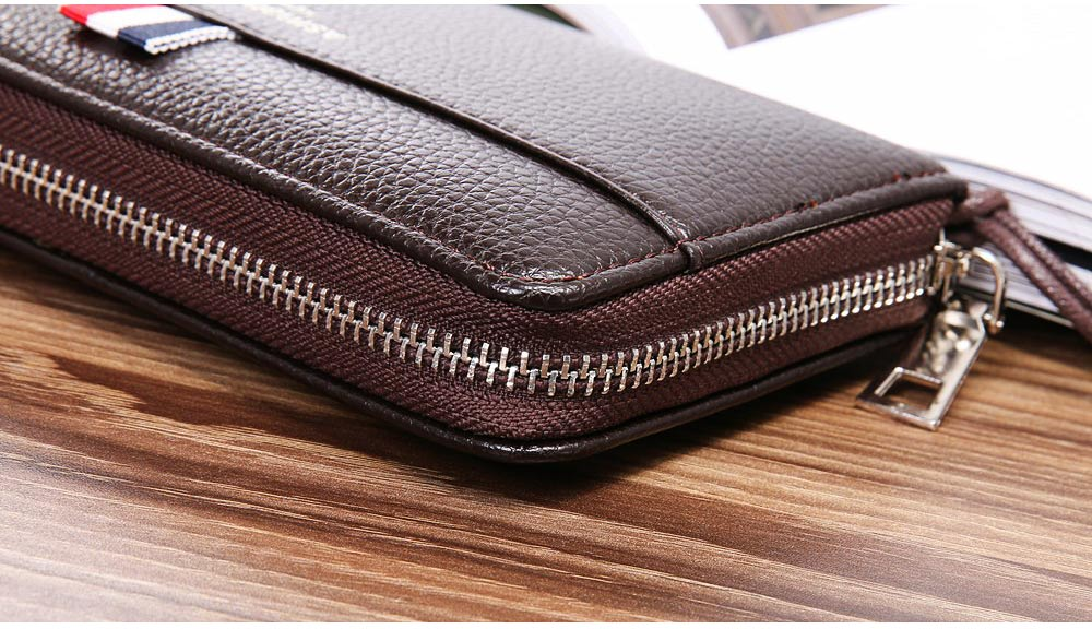 PU Leather Men Wallet, Fashion Litchi Grain Multifunction Long Clutch with Zipper, Multiple Cards Large Capacity Handbag 5