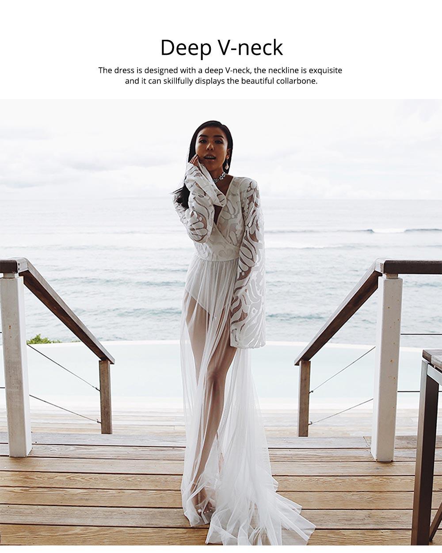 Women Lace Mesh Dress for Beach Holiday, Stylish White Floor-length Fashion Bikini Swimwear Two-piece Dress Skirt 5