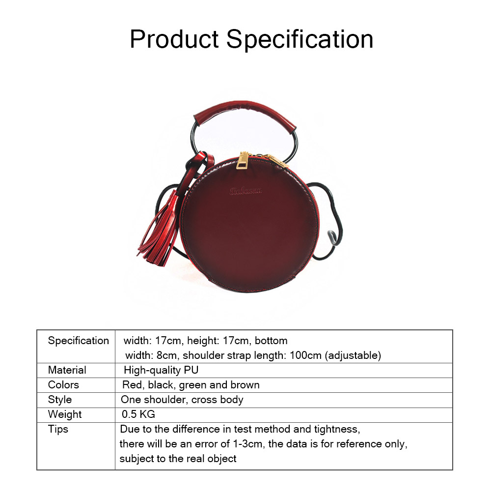 Mini Women Shoulder Bag, PU Material Knapsack Circular Shape Cross Pack-sack for Lady Girl, Small Bag Pockets Two-way Zippers Round Handbag 13