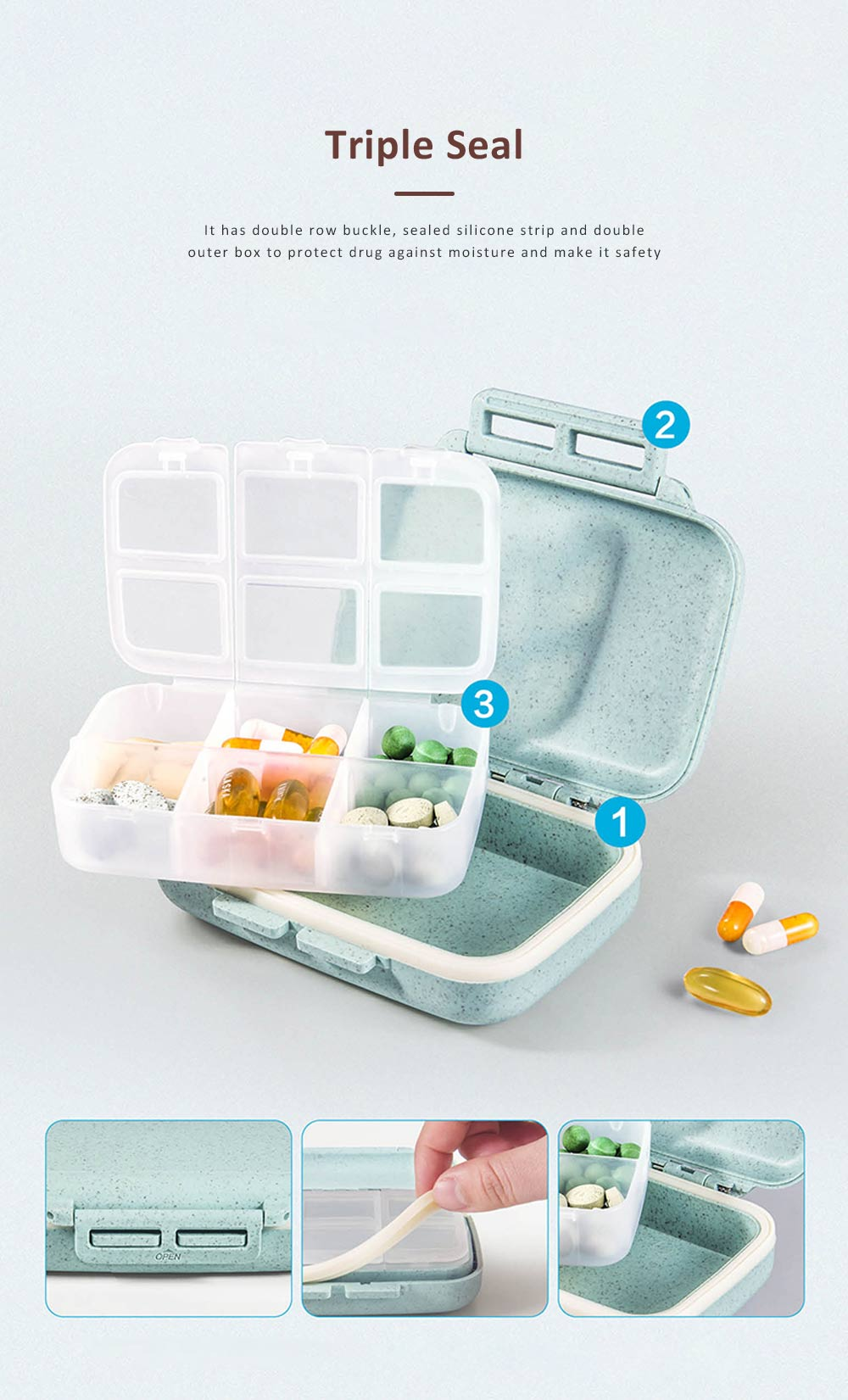 Suitcase Shape Pill Case with Handle Strap, Multiple Compartments Pill Box for Kids, Elderly, Pill Storage Organizer 2