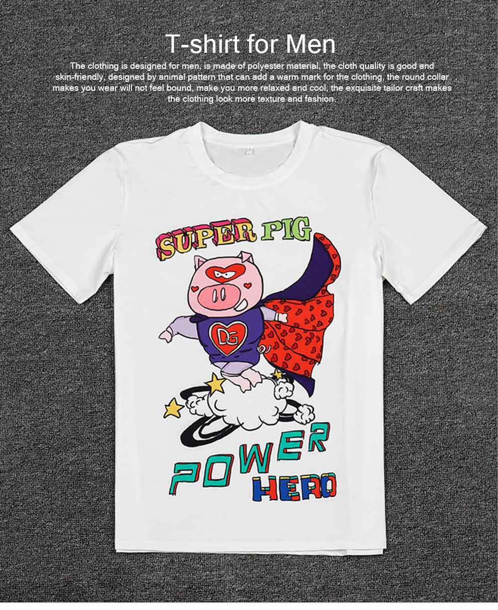 Polyester Spandex Material Male T-shirt with Supper Pig Pattern, Cotta Round Collar Fashionable Short Sleeve Shirt for Men 0