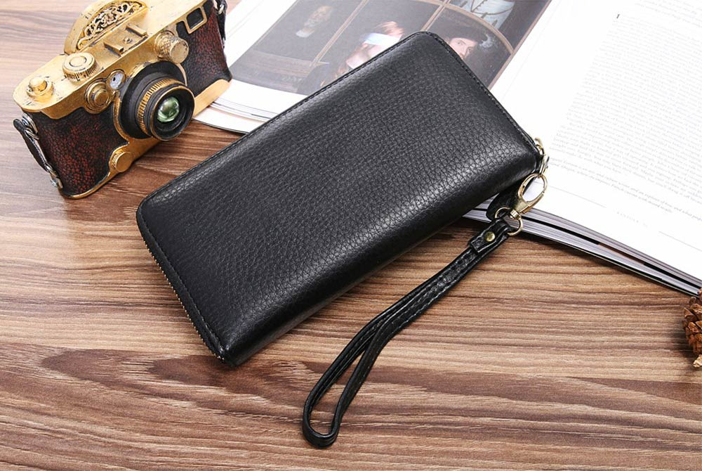PU Leather Wallet for Men Youth, Soft Leather Casual Simple Europe Style Clutch with Zipper, ID Card Holder, Long Clutch Handbag 8