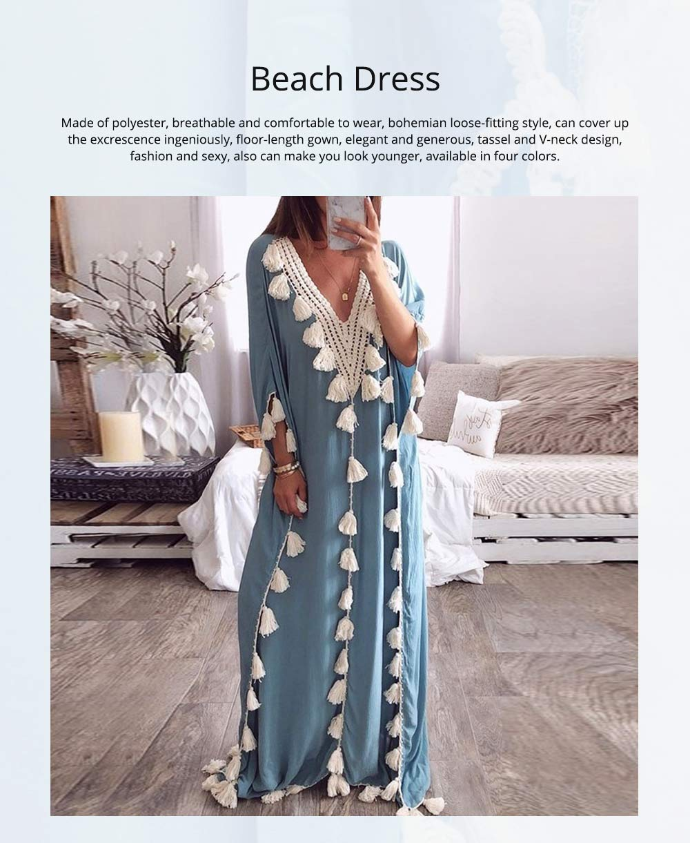 Women Long Beach Dress Large Size V-neck Fashion Tassel Loose Bohemian National Style Beach Dress Hot Sale 2019 0