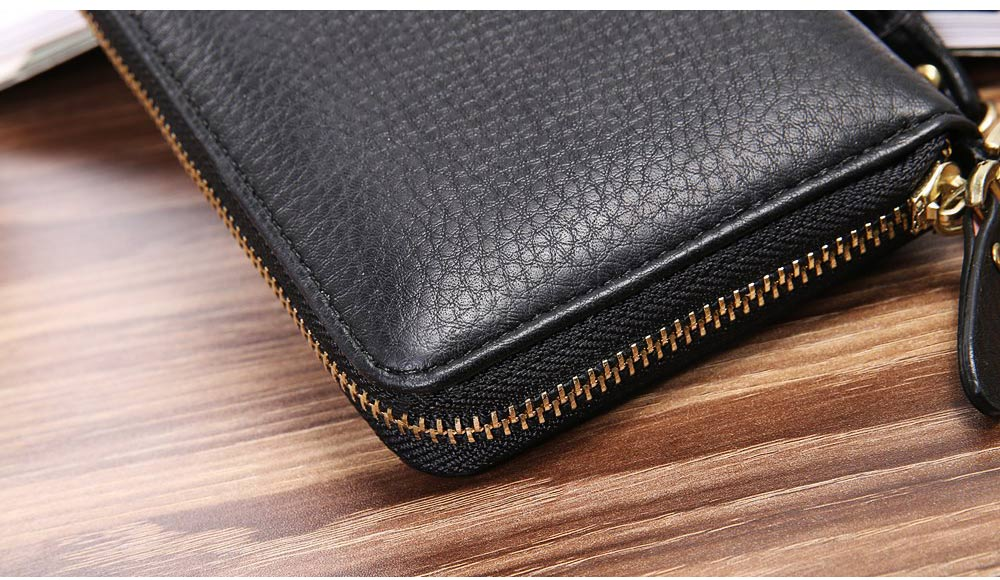 PU Leather Wallet for Men Youth, Soft Leather Casual Simple Europe Style Clutch with Zipper, ID Card Holder, Long Clutch Handbag 4