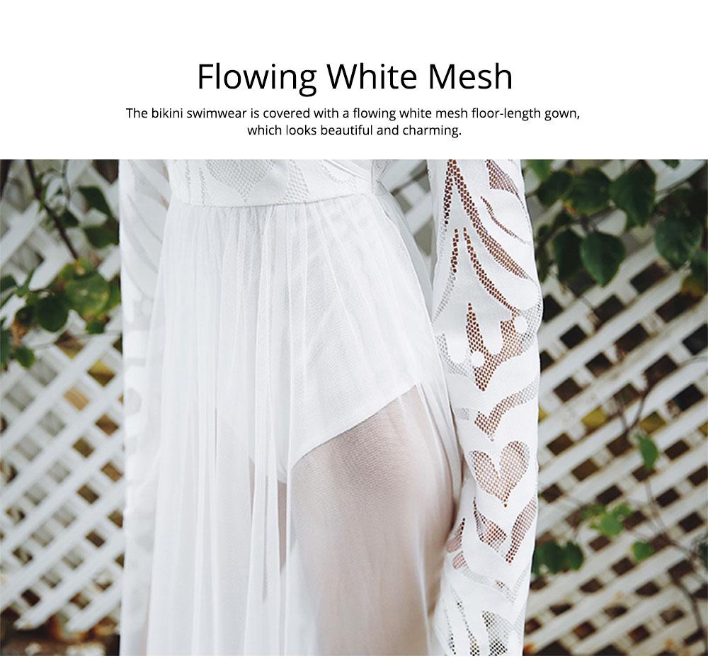 Women Lace Mesh Dress for Beach Holiday, Stylish White Floor-length Fashion Bikini Swimwear Two-piece Dress Skirt 2