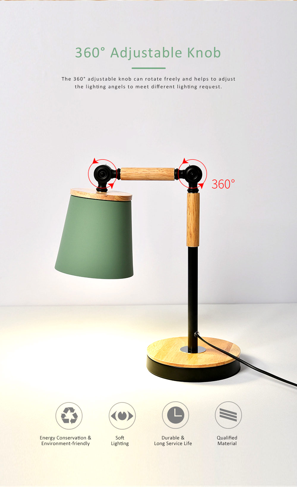 Nordic Style Desk Lamp, Macaron Desk LED Night Light with USB Charging Port, Office Essential Eye Protection LED Light 3