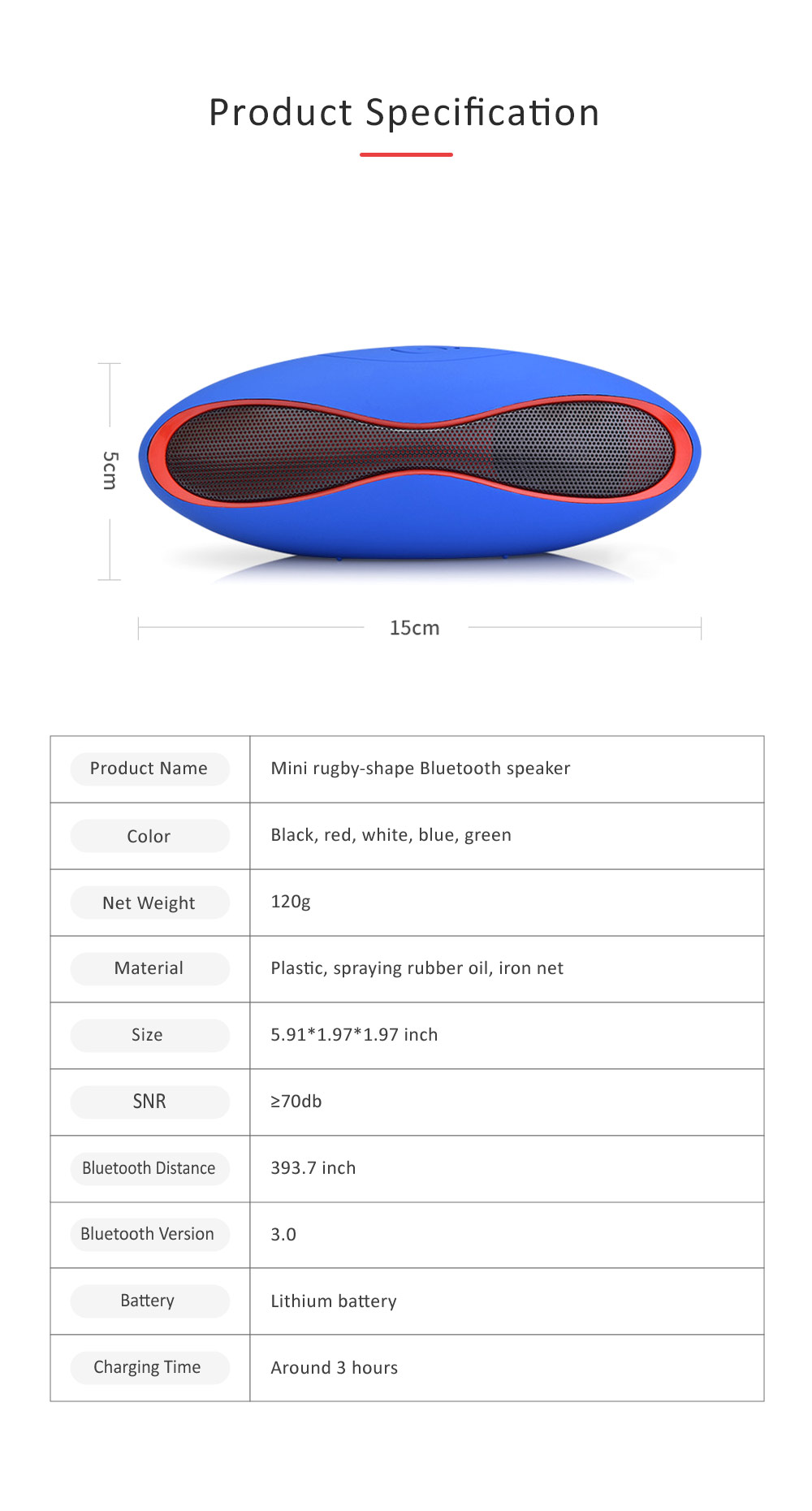 Mini Rugby-shape Bluetooth Speaker, 3D Sound Quality Speakers for Laptop, Tablets, Phones Bluetooth Wireless Speaker 6