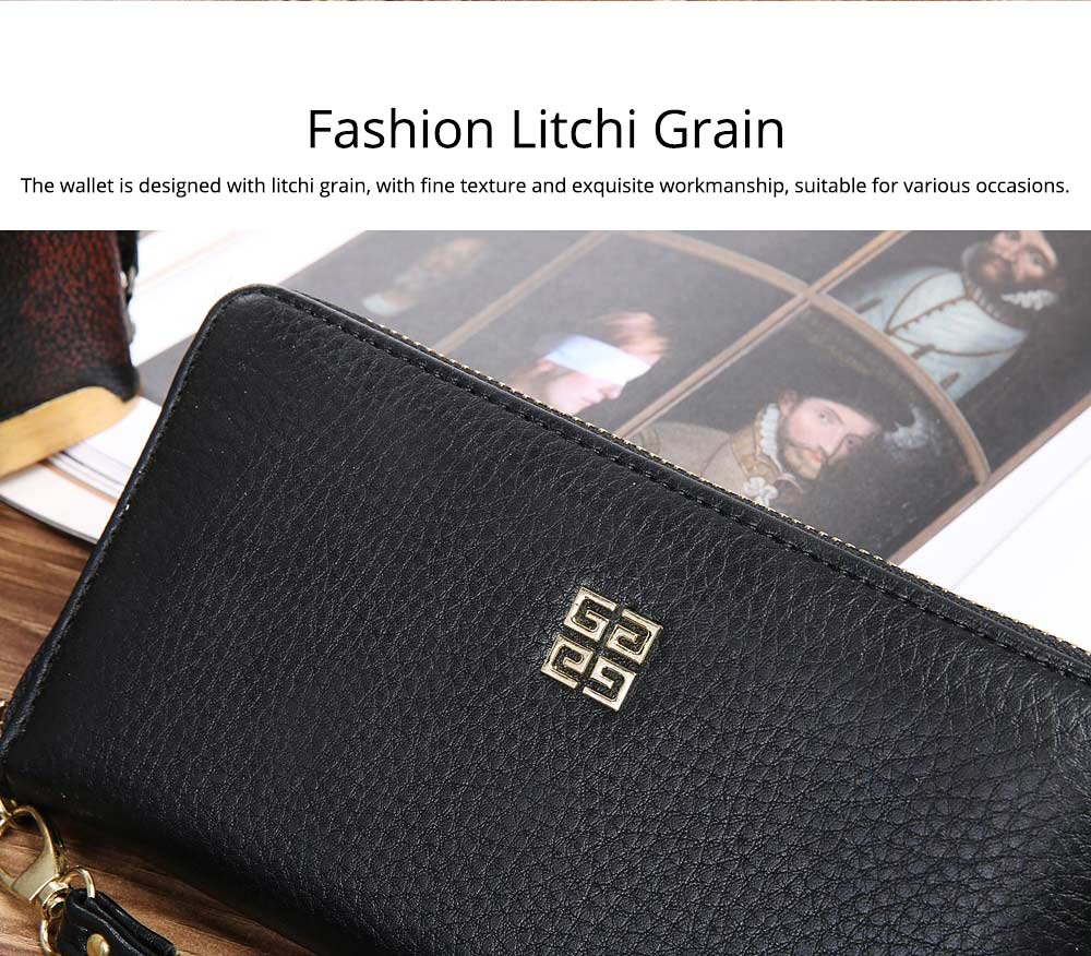 PU Leather Wallet for Men Youth, Soft Leather Casual Simple Europe Style Clutch with Zipper, ID Card Holder, Long Clutch Handbag 6