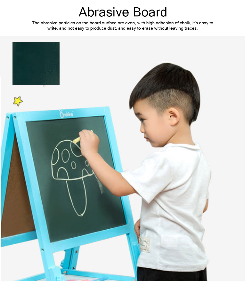 Wood PP Material Drawing Board with Safe Paint, Frosted Board Adjustable Holder Eraser Chalk Whiteboard Marker Palette for Children 7
