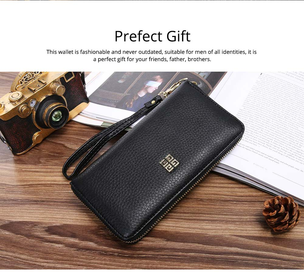 PU Leather Wallet for Men Youth, Soft Leather Casual Simple Europe Style Clutch with Zipper, ID Card Holder, Long Clutch Handbag 7
