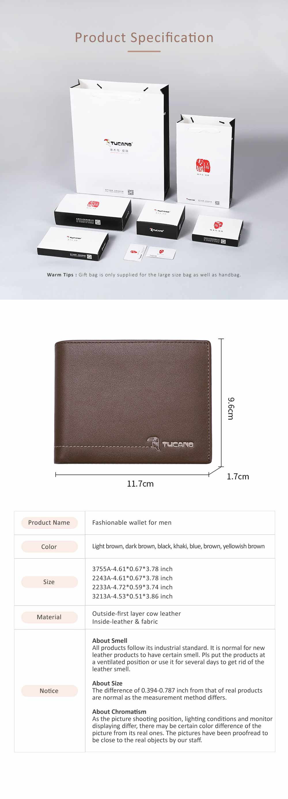 TUCANO Short Wallet for Men, Retro Cow Leather Business Men Coin Wallets Fashionable Clutch 7