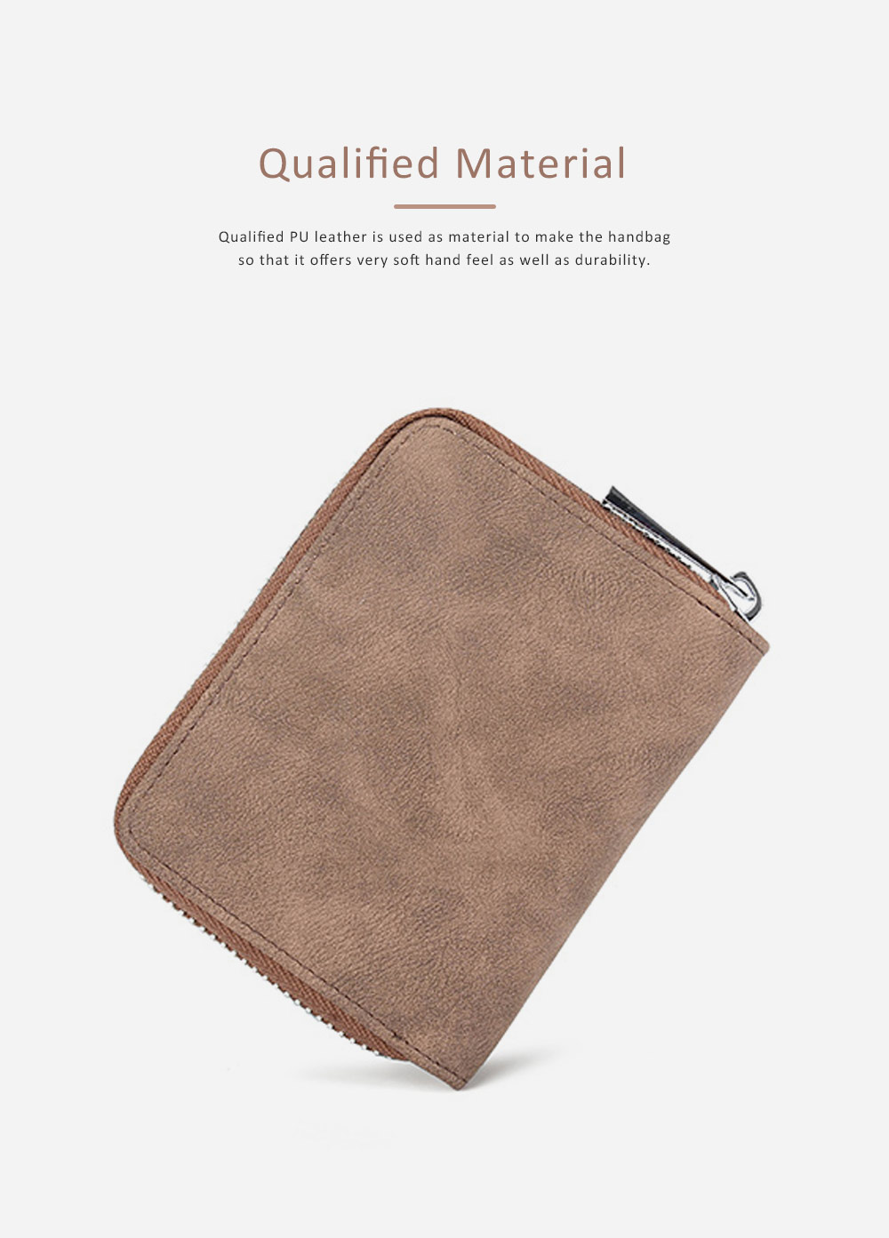Mini PU Leather Purse, Short Purse with Zipper, Card Slots, Multifunctional Purse for Coins, Cash, Credit Cards 5