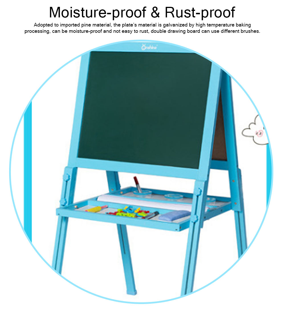 Wood PP Material Drawing Board with Safe Paint, Frosted Board Adjustable Holder Eraser Chalk Whiteboard Marker Palette for Children 2
