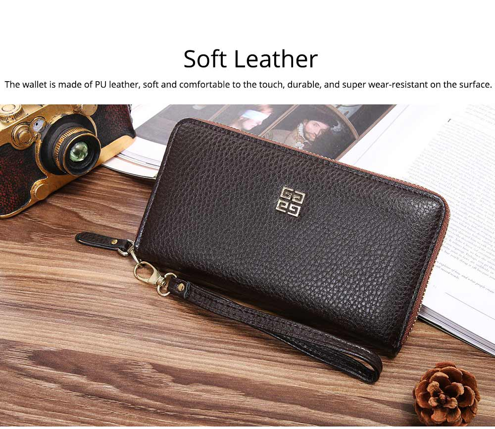 PU Leather Wallet for Men Youth, Soft Leather Casual Simple Europe Style Clutch with Zipper, ID Card Holder, Long Clutch Handbag 1