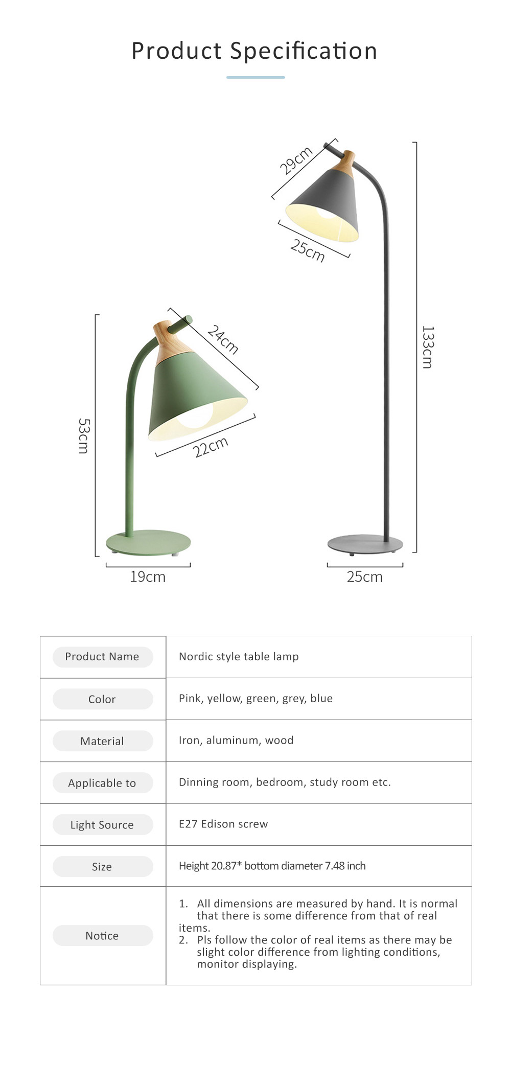 Nordic Style Table Lamp, Macaron LED Light for Office, Home, Eye Protection Working Essential LED Night Light 7